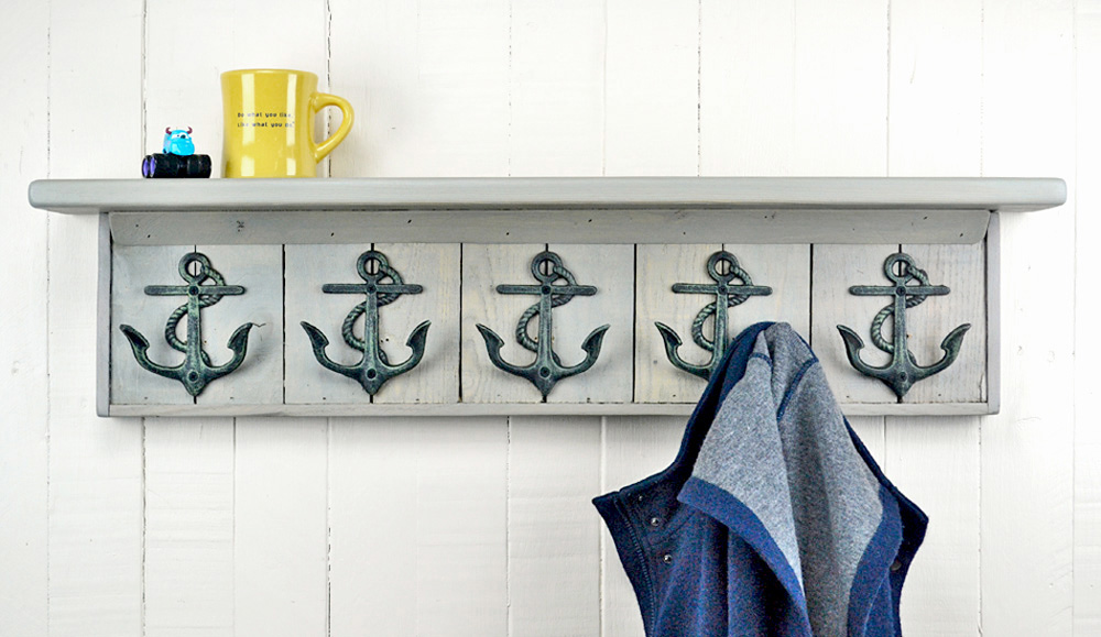 wall mounted coat rack with anchor hooks