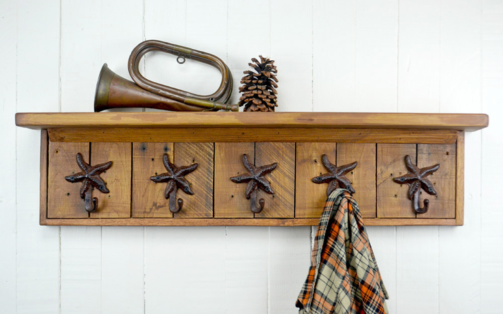 wall mounted coat rack with starfish hooks